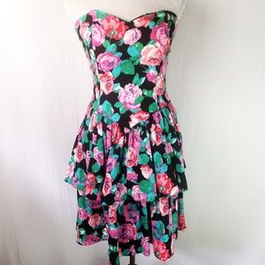 Vintage 80s 90s Robbie Bee Floral Tiered Dress 6